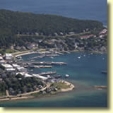 Aerial shot of Mackinac Island