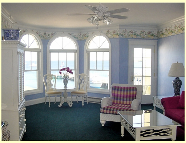 Bay windows overlooking the harbor